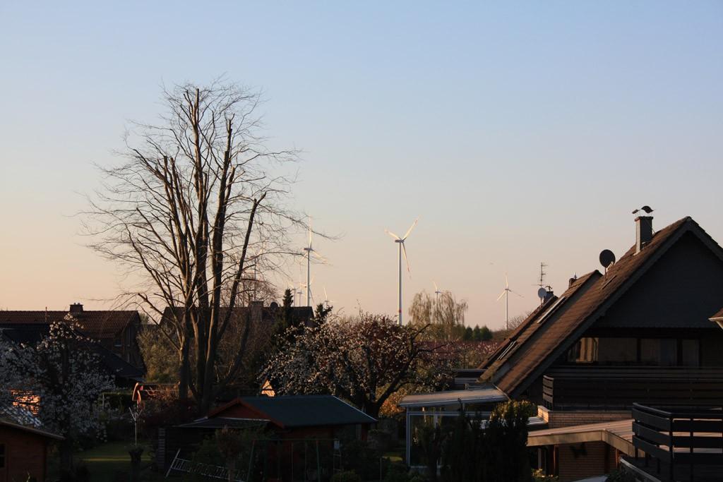 Frühlingshafte Stimmung über Königshovene - Der Windpark Königshovener Höhe verschafft eine neue Skyline. [Foto: Bastian Schlößer]