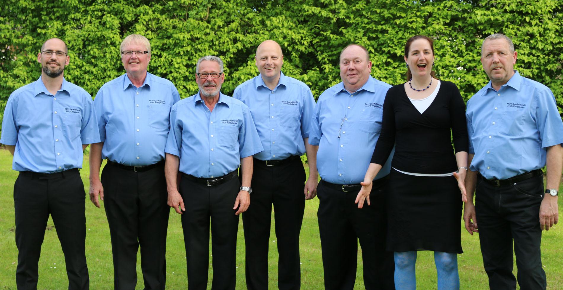 Management-Team 2017: (v.l.n.r.) Björn Hackbarth (stellvertr. Vorsitzender), Hans Erdmann (Kassierer), Theo van Peij (stellvertr. Kassierer), Manfred Speuser (Vorsitzender), Thomas Pauls (Geschäftsführer), Daniela Bosenius (Chorleiterin) und Wolfgang Schmitz (Noten-Manager)