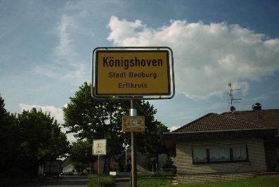Ortsschild Königshoven Stadt Bedburg, Rhein-Erft-Kreis