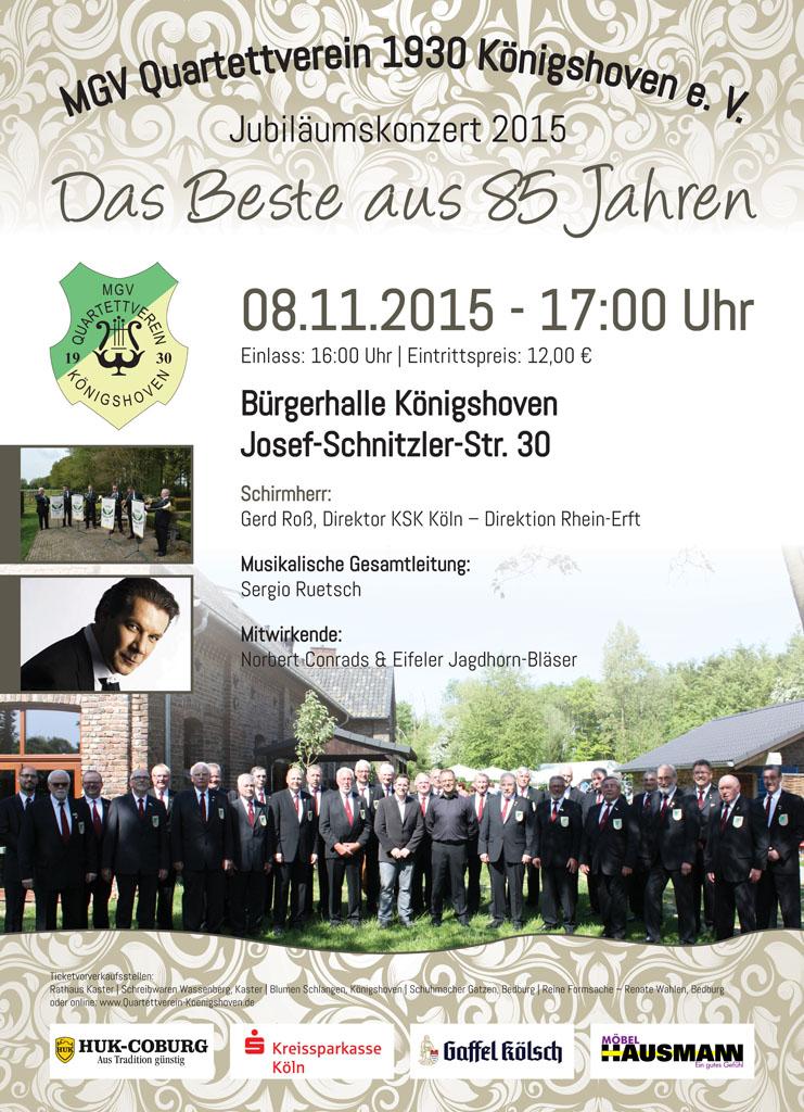 Plakat zum Jubiläumskonzert 2015 am 8. November 2015, 17:00 Uhr in der Bürgerhalle Königshoven