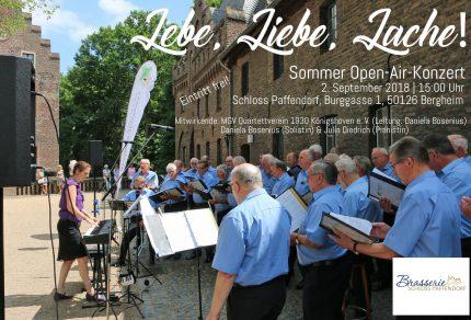 """Für den 2. September 2018, 15:00 Uhr, lädt der MGV Quartettverein Königshoven zum inzwischen schon traditionellen Sommer Open-Air-Konzert unter dem Motto """"Lebe, Liebe, Lache!"""" auf Schloss Paffendorf nach Bergheim ein. (Foto: Bastian Schlößer)"""