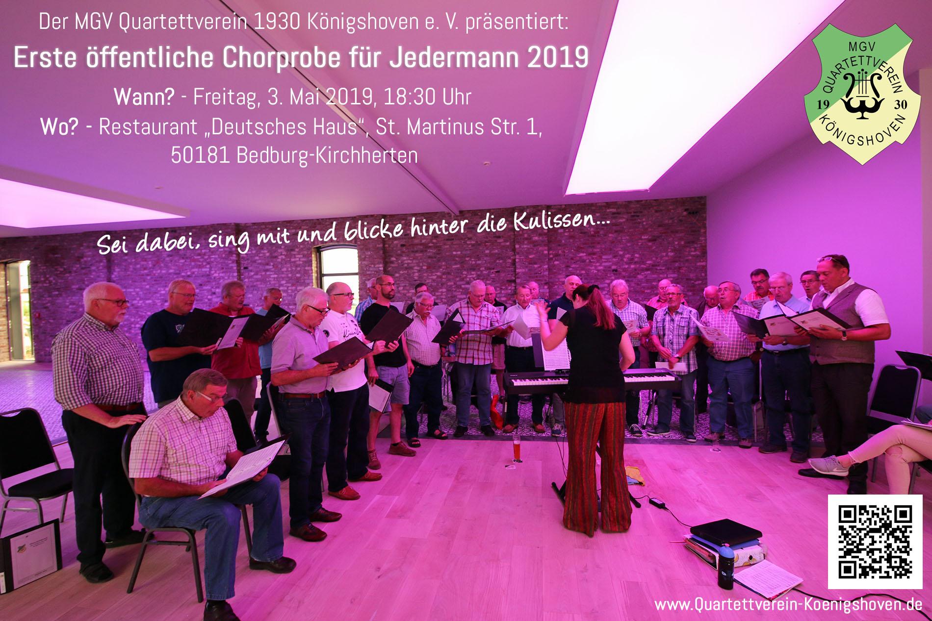Bei den öffentlichen Chorproben lädt der Königshovener Quartettverein ein, hinter die Kulissen zu blicken oder völlig unverbindlich direkt mitzusingen. (Foto: Bastian Schlößer)