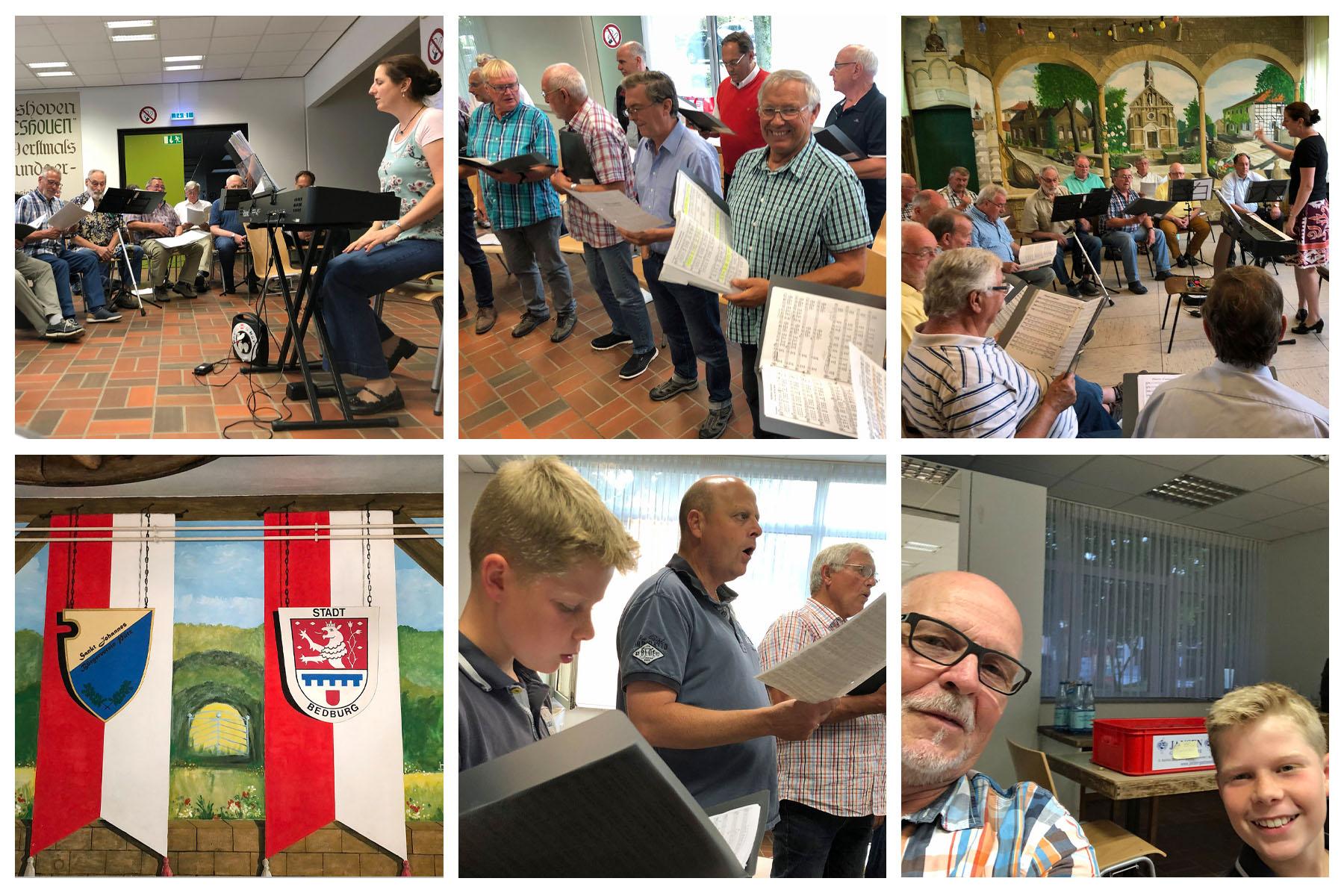 Viel Spaß hatten alle Sänger zusammen mit Chorleiterin Daniela Bosenius beim ganztägigen Probenseminar wie auch den beiden Chorproben in der Bürgerhalle Königshoven und alten Schule in Bedburg-Pütz. (Fotos: Willi Schlößer)