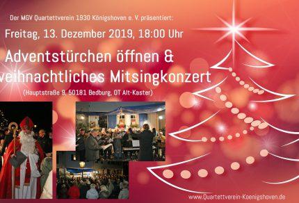 Am Freitag, 13. Dezember 2019, 18:00 Uhr, lädt der MGV Quartettverein 1930 Königshoven e. V. zur feierlichen Eröffnung des Adventsfensters Nummer 13 in die Kasterer Altstadt ein. (Fotos: Bastian Schlößer)