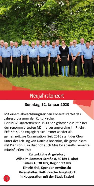 Die Ankündigung des Neujahrkonzerts im Kulturflyer der Stadt Elsdorf.