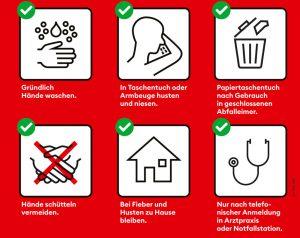 Achten Sie in erster Linie auf die neuen Hygieneregeln und das richtige Verhalten bei Symptomen wie Atembeschwerden, Husten oder Fieber. (Foto © BAG)